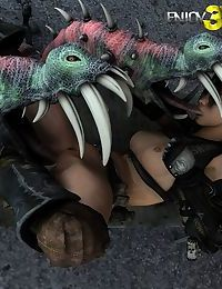 Hot chick gets overpowered and molested by alien tentacles - part 4