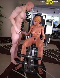 Personal trainer fucks his hot workout partner in the gym - part 11